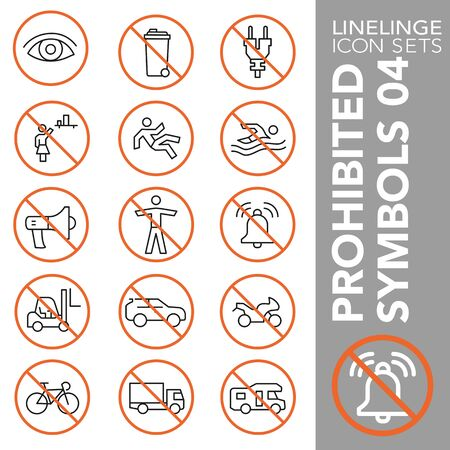 High quality thin line icons of no symbols and do not sign. Linelinge are the best pictogram pack unique design for all dimensions and devices. Vector graphic,  symbol and website content. Stok Fotoğraf - 128798219
