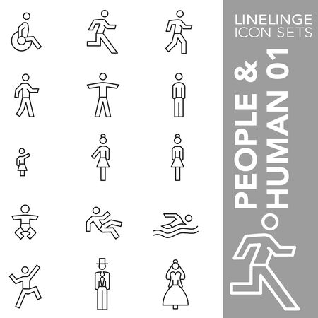 High quality thin line icons of Human and people. Linelinge are the best pictogram pack unique design for all dimensions and devices. Vector graphic,  symbol and website content.