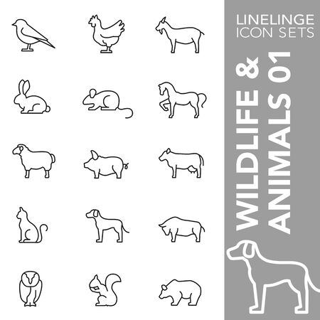 High quality thin line icons of wildelife and animals. Linelinge are the best pictogram pack unique design for all dimensions and devices. Vector graphic, symbol and website content. Ilustração