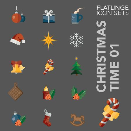 High quality colorful icons of Santa Claus and Christmas Time. Flatlinge are the best pictogram pack, unique design for all dimensions and devices. Vector graphic, symbol and website content.