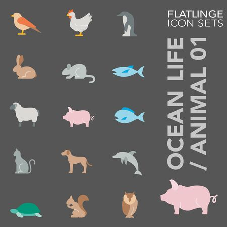 High quality colorful icons of Ocean Life, Animal and Wilde Life. Flatlinge are the best pictogram pack, unique design for all dimensions and devices. Vector graphic, symbol and website content. Çizim