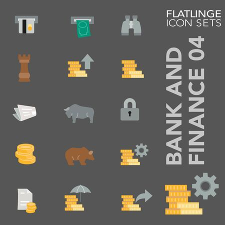 High quality colorful icons of Banking, finance and economy. Flatlinge are the best pictogram pack, unique design for all dimensions and devices. Vector graphic, symbol and website content. Stock Illustratie