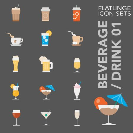 High quality colorful icons of Drinks and Beverages. Flatlinge are the best pictogram pack, unique design for all dimensions and devices. Vector graphic, symbol and website content. Vettoriali