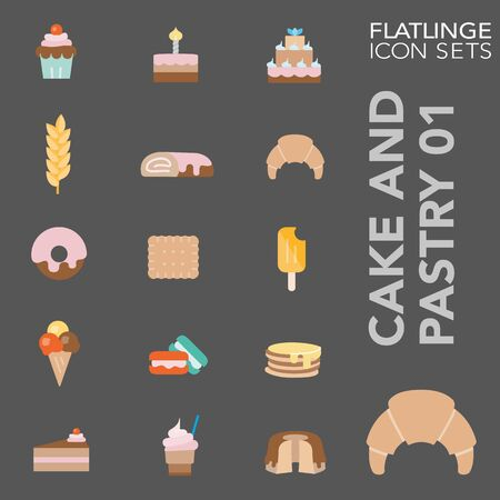 High quality colorful icons of sweets and cake. Flatlinge are the best pictogram pack, unique design for all dimensions and devices. Vector graphic, symbol and website content.