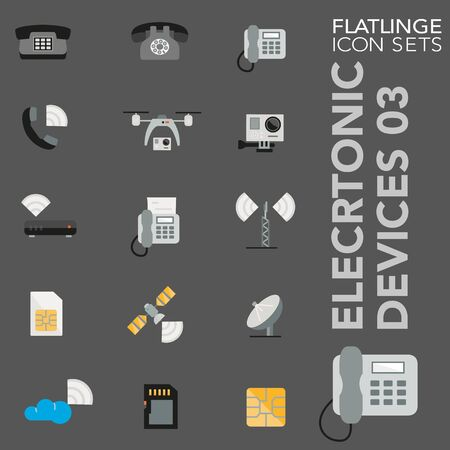 High quality colorful icons of Electronic Device. Flattering are the best pictogram pack, unique design for all dimensions and devices. Vector graphic, symbol and website content.