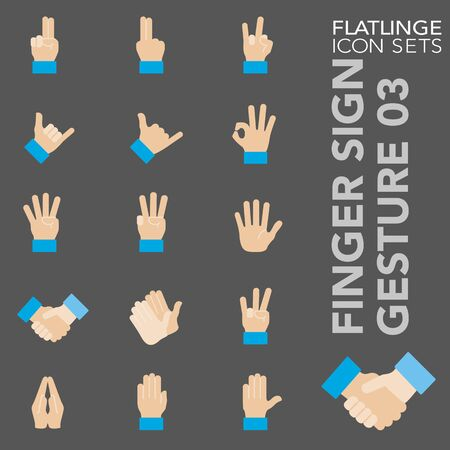 High quality colorful icons of Finger Sign and Hand Gesture. Flatlinge are the best pictogram pack, unique design for all dimensions and devices. Vector graphic, symbol and website content