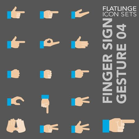 High quality colorful icons of Finger Sign and Hand Gesture. Flatlinge are the best pictogram pack, unique design for all dimensions and devices. Vector graphic, symbol and website content. Vectores