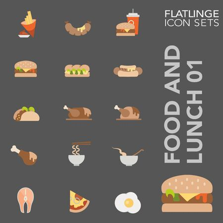 High quality colorful icons of Food and Lunch. Flatlinge are the best pictogram pack, unique design for all dimensions and devices. Vector graphic, symbol and website content.