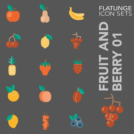 High quality colorful icons of Fruit and Berry. Flatlinge are the best pictogram pack, unique design for all dimensions and devices. Vector graphic, symbol and website content. 向量圖像