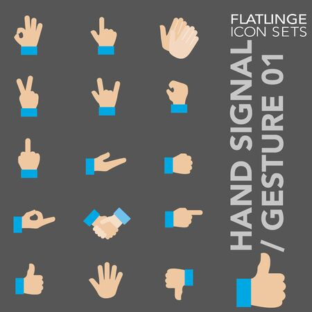 High quality colorful icons of Hand Signal and Finger Sign. Flatlinge are the best pictogram pack, unique design for all dimensions and devices. Vector graphic, symbol and website content.