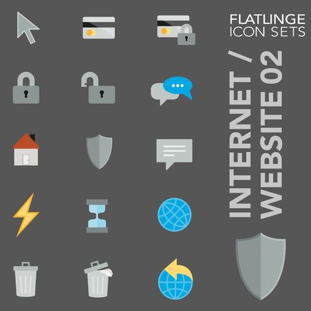 High quality colorful icons of Internet and Website. Flatlinge are the best pictogram pack, unique design for all dimensions and devices. Vector graphic, symbol and website content.