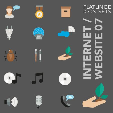 High quality colorful icons of Internet and Website. Flatlinge are the best pictogram pack, unique design for all dimensions and devices. Vector graphic, symbol and website content. Illustration