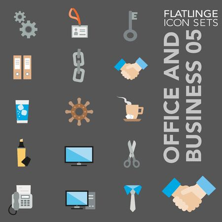 High quality colorful icons of Office Item, Document, File and Folder, Business Equipment. Flatlinge are the best pictogram pack, unique design for all dimensions and devices. Vector graphic, symbol and website content. Illusztráció