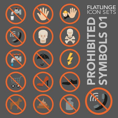 High quality colorful icons of no sign, Prohibited symbols and Do Not. Flatlinge are the best pictogram pack, unique design for all dimensions and devices. Vector graphic,symbol and website content.