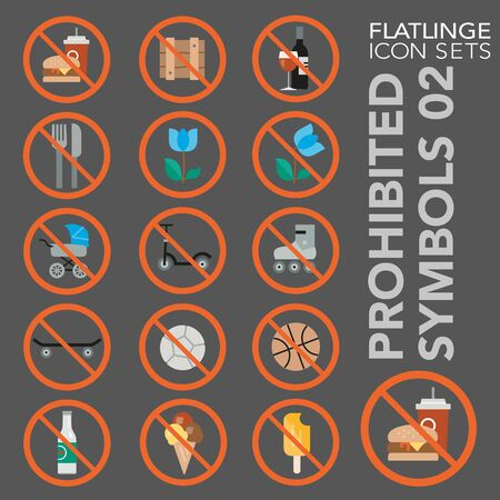 High quality colorful icons of no sign, Prohibited symbols and Do Not. Flatlinge are the best pictogram pack, unique design for all dimensions and devices. Vector graphic, symbol and website content.