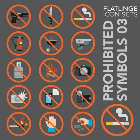 High quality colorful icons of no sign, Prohibited symbols and Do Not. Flatlinge are the best pictogram pack, unique design for all dimensions and devices. Vector graphic,  symbol and website content. Illustration