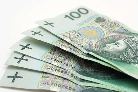 Close-up on Polish money. photo