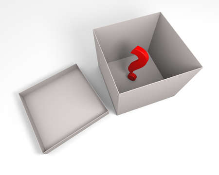 Three dimensional rendering of red question mark symbol inside the gray box. photo
