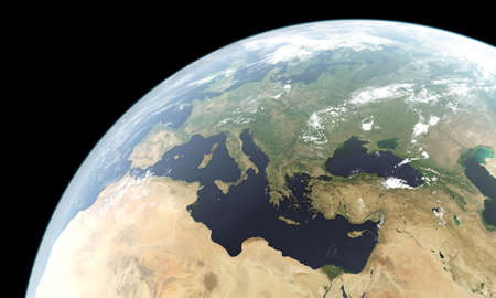 courtesy: Computer generated planet Earth showing Europe, North Africa and Middle East and west parts of Asia. 3D rendering includes atmospheric glow effect. The planet texture used courtesy of Nasa.