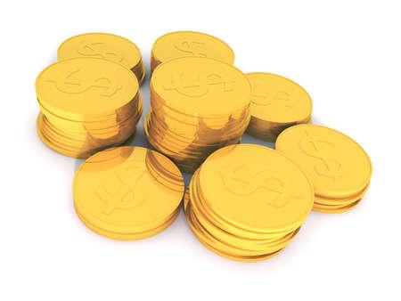 signo de pesos: Representaci�n 3D de monedas de oro con el s�mbolo de d�lar  Foto de archivo