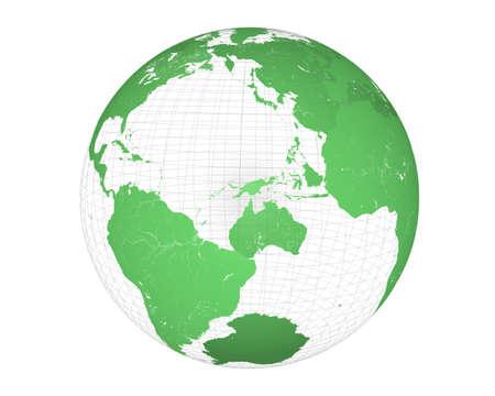 3D wired green globe
