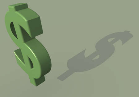 Rendering of dollar symbol in green colors with shadow