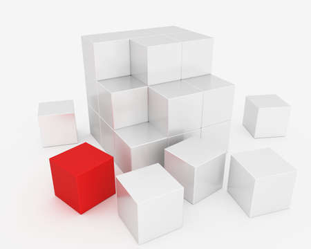 Abstract cube assembled from the blocks