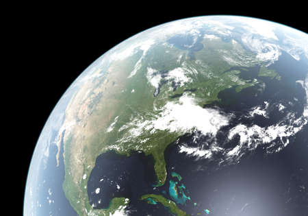 Computer generated planet Earth showing North America Stock Photo