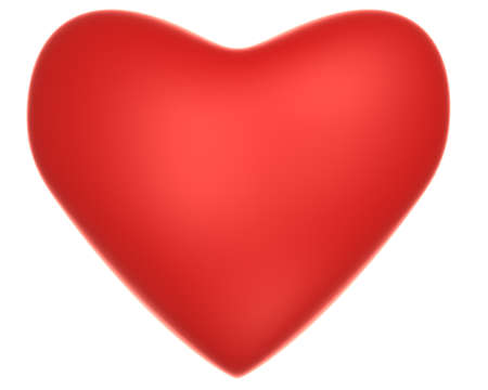 Rendering of valentine red heart over white background