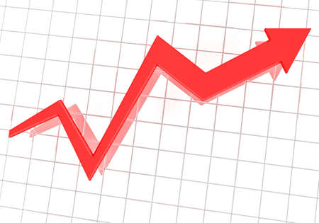 Rendering of graph over business chart Stock Photo