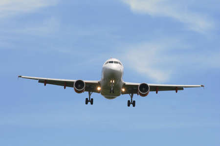 Airliner during approach to the runway Stock Photo