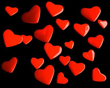 Valentine hearts over black