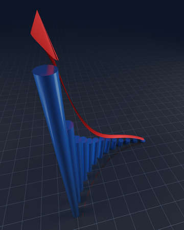 3D rendering of rounded bars with red arrow showing financial profit increase  Stock Photo