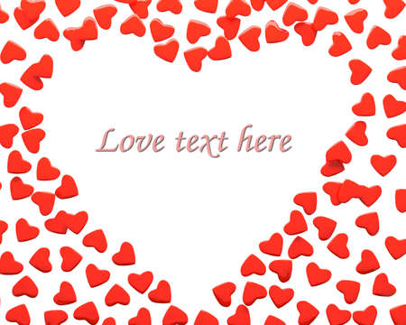 Rendering of valentine hearts over white background with sample text  photo