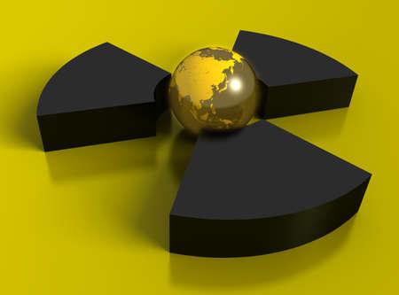 3D radioactivity symbol Stock Photo - 9135369