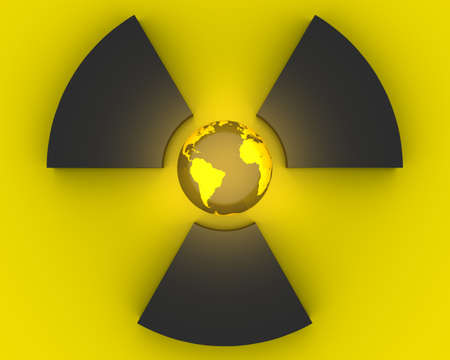 radioactivity: 3D radioactivity symbol with Earth globe