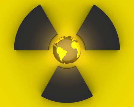 radiacion: S�mbolo de la radiactividad 3D con el planeta tierra Foto de archivo