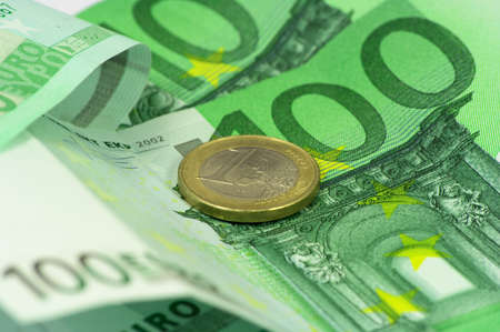 Macro photography of euro money