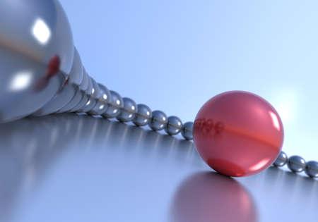 liderazgo: Concepto de liderazgo. Esfera roja y varias esferas de cromo.