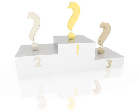 Winner podium with question marks over white background photo