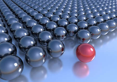 Leadership concept. Unique red sphere outside the rows formed by black ones. Stock Photo