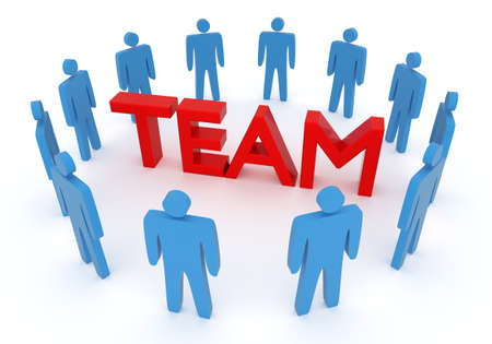 3D rendering of team cooperation.