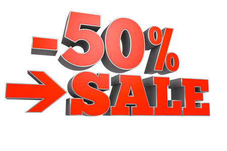 Computer generated rendering of SALE with 50% discount text over white background. Stock Photo