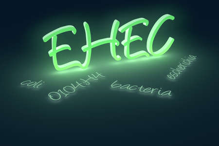 3D rendering of EHEC coli bacteria text. A currently ongoing Escherichia coli O104:H4 bacterial outbreak began in Germany in May 2011. Stock Photo - 9692496