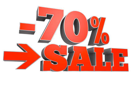 3D rendering of 70% SALE discount text over white background.