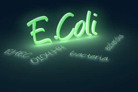Computer generated rendering of EHEC coli bacteria text.