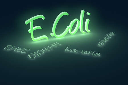 Computer generated rendering of EHEC coli bacteria text.