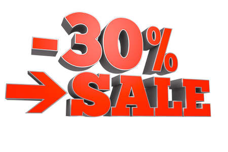 3D rendering of 30% SALE discount text.