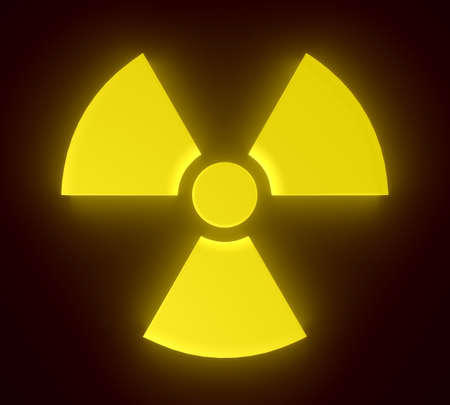 3D rendering of yellow glowing radioactive sign.