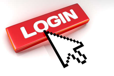 Rendered graphic showing 3D login button with mouse cursor over.